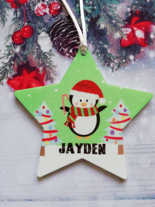 Christmas Penguin Star Ornament Decoration